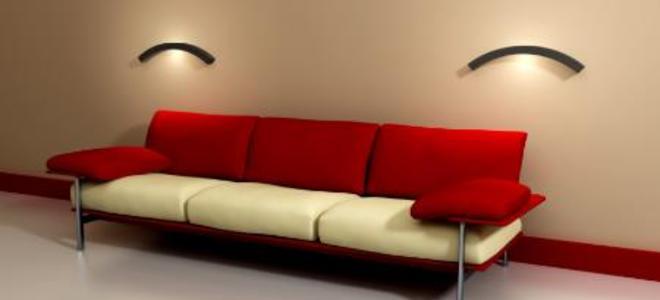 Контрастный темный цвет мебели со стенами в гостиной